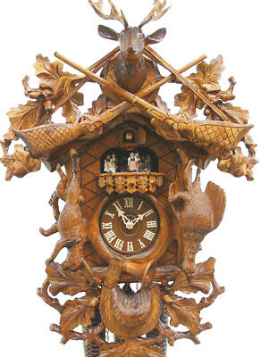 cuckoo clock with mechanical 8-days-movement and music (with rotating dancers)