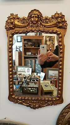 MIRROR GLASS ART NOUVEAU VINTAGE 1890's ENGLISH VICTORIAN READY TO HANG