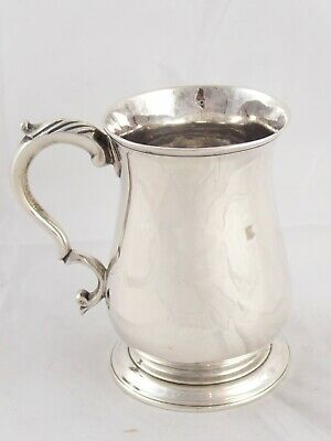SMART ANTIQUE GEORGIAN GEORGE III SOLID STERLING SILVER TANKARD MUG 1768 162 g