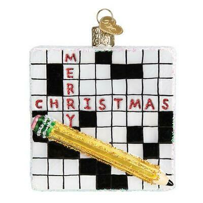 Crossword Puzzle Old World Christmas Glass Game Quizzes Ornament Nwt 44139