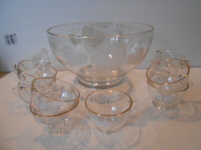 Glass Punch Bowl With 11 Handled Cups White Leaf Patterned Gold Rimmed