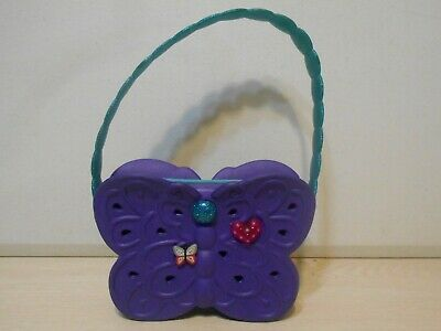 Purple Butterfly Shaped Crocs Purse Children's Rubber Handbag W/Large Pocket