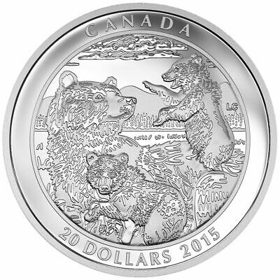 Royal Canadian Mint Grizzly Bear: Family - 2015 $20 Fine Silver Coin w/CoA & box