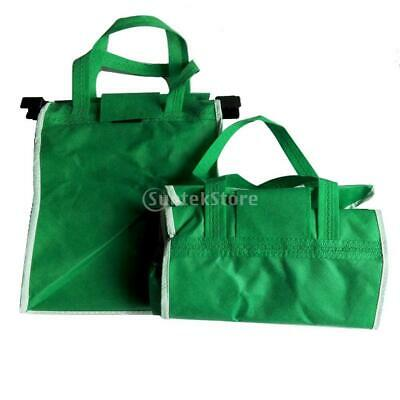 Clip On Cart Bags Foldable Shopping Bags Reusable Compact Basket Grab Bags