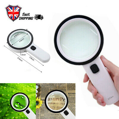 with 12 LED Lights 80mm 30X High Power Handheld Magnifying Double Glass Lens