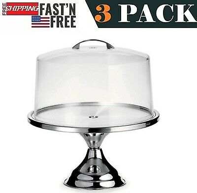 """3 PACK Stainless Steel Cake Table Round Serving Tray 13"""" and Cake Stand Cover"""