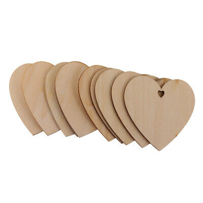 25 Pieces Wood Cutout Shapes Unfinished Heart Slice with Hole for Craft 80mm