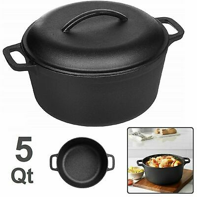 CAST IRON DUTCH OVEN Pre Seasoned 5 Quart Kitchen Cooker Large Qt Cooking Pot