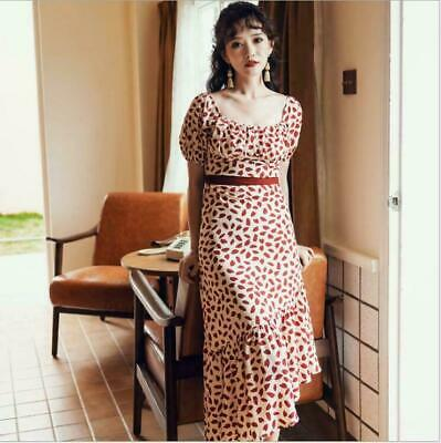 Women's Fashion Fishtail Dress Summer New Beach Skirt Floral Slim Chiffon Dress
