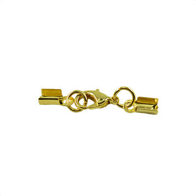 12x Lobster Clasp Fold Over Cord End Crimp Caps Bail Tip Connector Gold