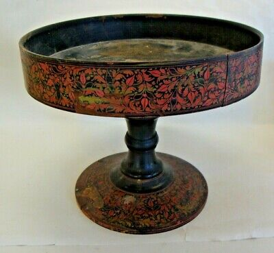 Antique 19th century Kashmiri turned wooden footed bowl with decoration