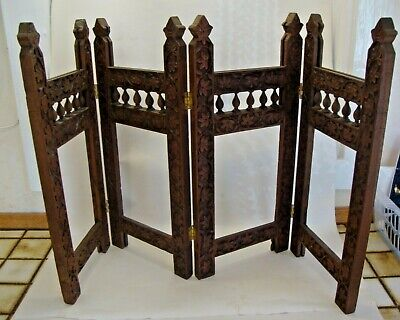 Antique Asian carved hardwood table screen