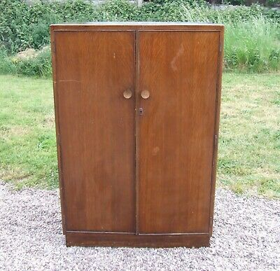 Vintage/Retro Utility Tallboy Cupboard / Small Wardrobe with Rail & Shelves