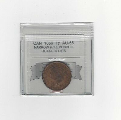 **1859 N9 / Repunched 5**Coin Mart Graded Canadian, Large One Cent**AU-55*Rot D