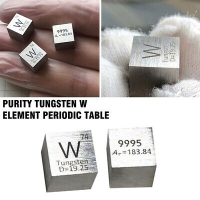 99.95% High Purity Tungsten W 10mm  Cube Metal Carved Element Periodic Table