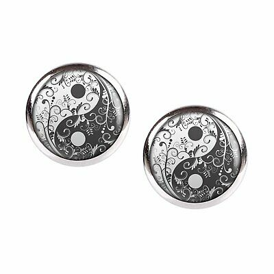 Mylery Earrings Pair with Motif Yin Yang Black White Flowers Silver Different