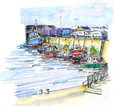 Framed limited edition Howth Harbour by Irish Artist Tonja Maguire