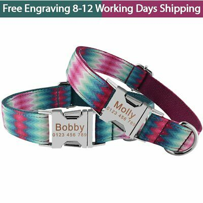 Colorful Personalised Dog Collar Nylon Name ID Engraved Small Large Puppy Pet