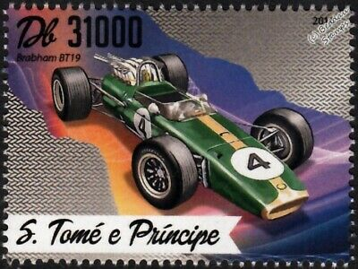 1966-1967 BRABHAM BT19 Formula One F1 GP Racing Car Stamp (2016)