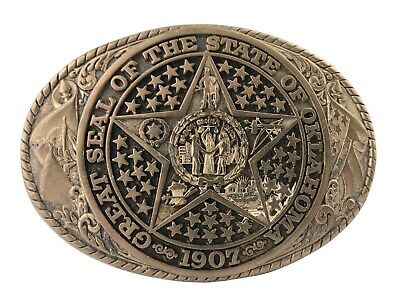 Great Seal of the State of Oklahoma Tony Lama State Series Brass Belt Buckle