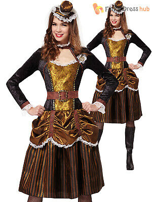 Ladies Steampunk Madame Victorian Burlesque Western Fancy Dress Costume Outfit