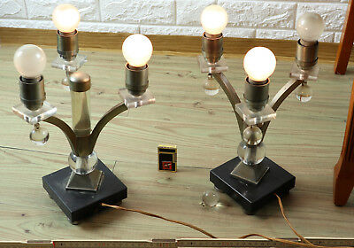 Pair Art Deco Table Lamps Antique Brass Nickel Plated Chrome Marble Bauhaus?