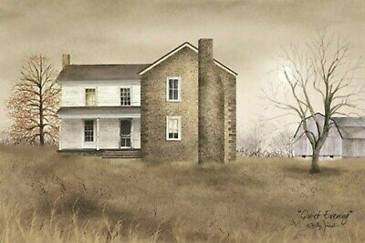 Billy Jacobs Quiet Evening Canvas 12 x 20 Country Farmhouse Barn Rustic Rooster