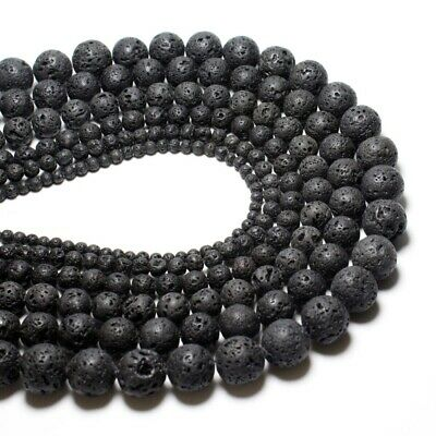 Natural Black Lava Beads Round Volcanic Rock Gemstone 4/6/8/10/12/14/16mm  /FA