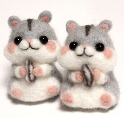 DIY Kids Handcraft Toy Hamster Non Finished Wool Felt Poked Needle Material Kit