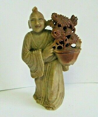 """Antique Chinese Carved Multi Color Soap Stone Wise Man Figure 4.5"""" Good Detail"""