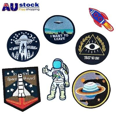 4pcs UFO Patches Astronaut Embroidery Sew on Patch Embroidered Numbers DIY Tag