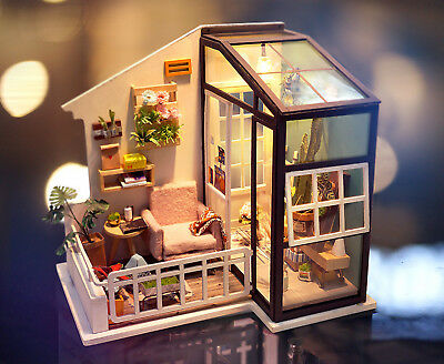 Rolife DIY Doll House with Furniture LED Miniature Balcony Model Kits Toy Girl