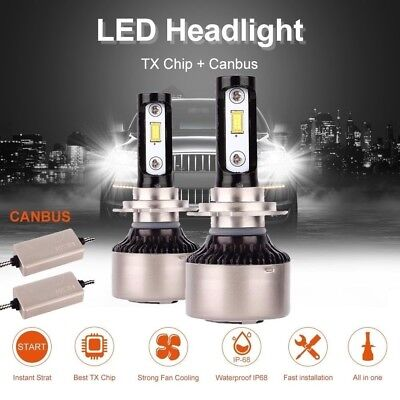 Pair MALUOKASA H7 90W 21000LM Car TX LED Chips Headlight Bulbs With CANBUS 6000K