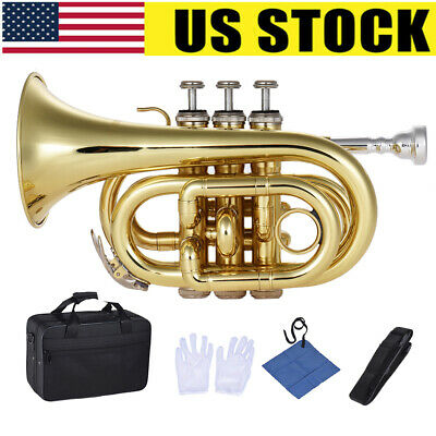 ammoon Mini Pocket Trumpet Bb Flat Brass with Tuner Mouthpiece Gloves Case N4F0