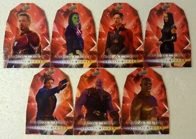 2018  Marvel Avengers Infinity War REALITY Stones DIE CUT 7 Cards Set RR1 - 7