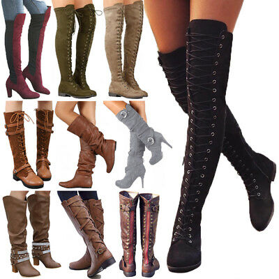 Womens Ladies Thigh High Over The Knee Boots Long Stretch Lace Up Winter Shoes