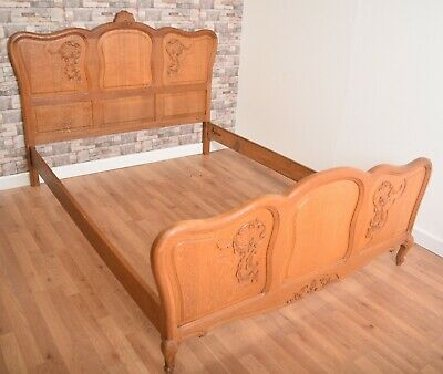 Ornately Carved Oak French Louis Style UK Double Bed