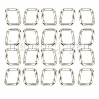 20Pcs Metal Silver Square Ring Buckle Adjusters for 20mm Webbing