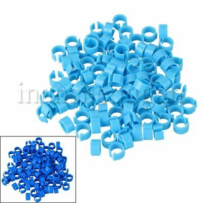 100pcs Plastic Blue Leg Clip Rings Bands Clip On 8x7mm for Pigeons Birds