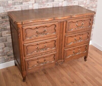 Antique Oak French Louis Style 6 Drawer Chest Of Drawers