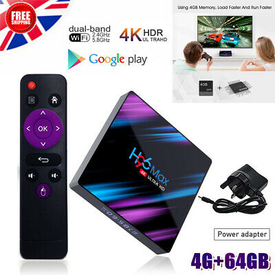 Android 9.0 H96 MAX 4GB+64G Quad Core 4K TV Box Wifi Support Google Play Youtube
