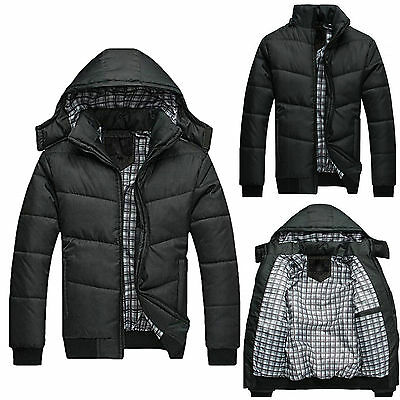 Mens Winter Hooded Jacket Warm Padded Zipper Coat Outwear Quilted Parka Overcoat