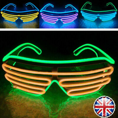 Neon LED Light Up Shutter EL Wire Glasses Glow Frame Dance Party Nightclub NEW