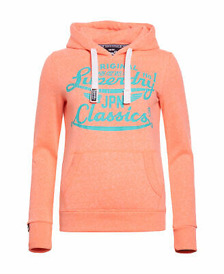 New Womens Superdry Icarus Duo Hoodie Phosphorescent Coral