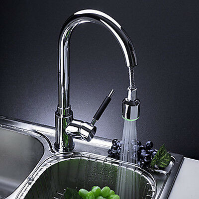 Single Handle Solid Brass Pull-Out Kitchen Faucet w Color Changing RGB LED Light