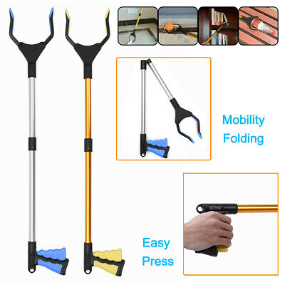 Foldable Garbage Pick Up Tool Grabber Reacher Stick Reaching Grab Claw Grip 360°