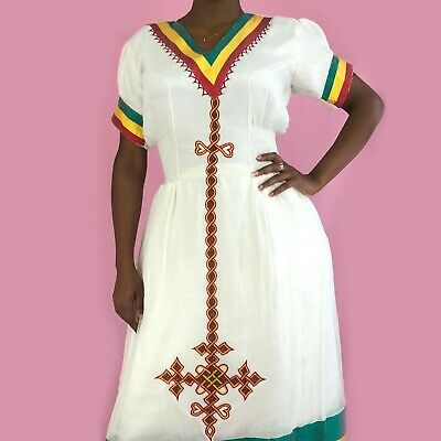 Ethiopian Dress, Traditional Habesa Clothes, Embroidered, Ethiopian Colours