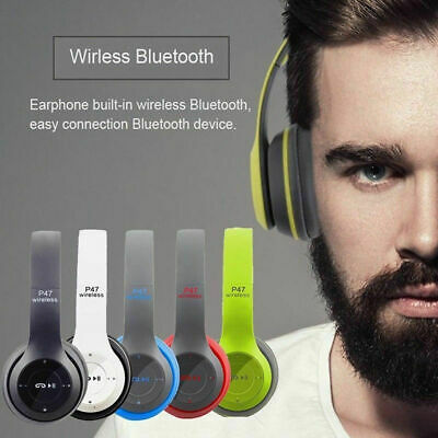 P47 WIFI Wireless Bluetooth Headphones Microphone Portable Stereo FM Headset
