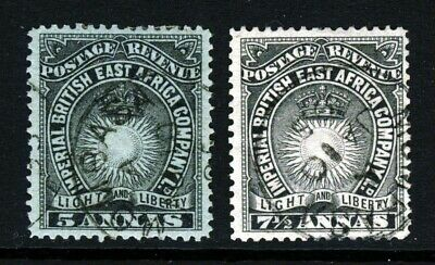 BRITISH EAST AFRICA KUT QV 1895 5 & 7½ Annas Later Set SG 29 & SG 30 VFU
