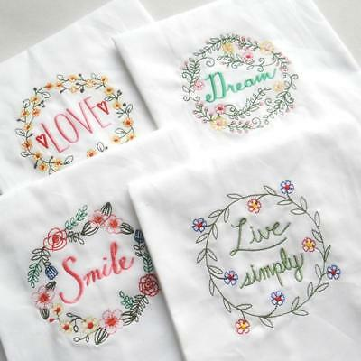 Table Towel Embroidery Flower Letters Pattern Cotton Tea Napkins Mat Cover LC